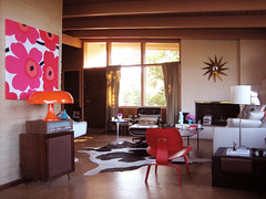 living room set up (m.bibelot) Tags: red clock lamp chair nelson ottoman eames lounger turbine marimekko lcw nesso unikko