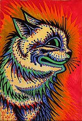 "Louis Wain ""Electric"" style cat (Jane (on break)) Tags: edwardian magnetic louiswain catland catartist victoriancatart electriccat colorfulcat schizophrenicart louiswilliamwain waincat"
