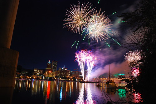 4th of July fireworks over the Willamette River, downtown Portland Oregon