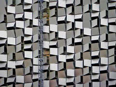 (Delay Tactics) Tags: park new city light building car cheese architecture silver grey crane squares sheffield centre parking lot explore q grater thirds cheesegrater haphazartshootupdown haphazartfrenzy haphazartirregular