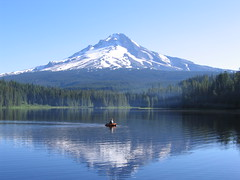Trillium Lake Fisherman (palegreenstarz) Tags: mountain fisherman mthood hood mounthood trilliumlake powershota95 mountainreflection unature