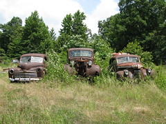 Salvage Yard Trio (dbro1206) Tags: old ford abandoned junk rust rusty arkansas resting decayed
