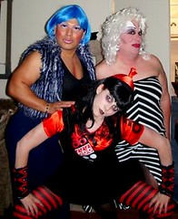 rough trade (danimaniacs) Tags: blue halloween drag costume furry stripes 666 divine number wig