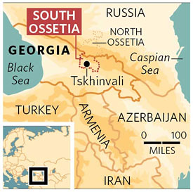 Map of South Ossetia, shamelessly stolen from the Independent