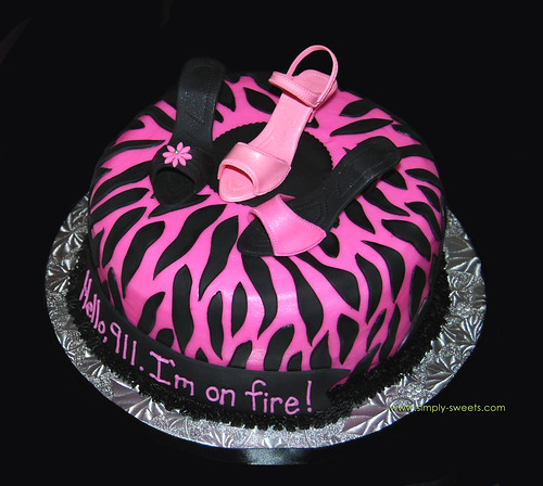 pink and black zebra with 3 sugar high heel shoe bachelorette cake