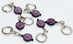 Handmade Stitch Markers - Small Purple Glass
