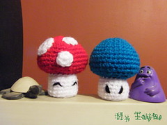 MUSHROOM ! (Weich Taube *Give me a Cookie!*) Tags: blue red cute mushroom funny crochet craft plush swap kawaii amigurumi macdonald hongo turttle callampa