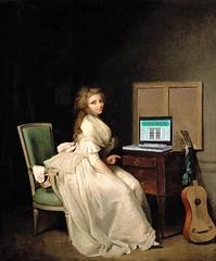 rielaborazione dipinto d'epoca con donna e pc