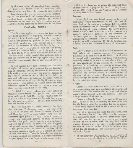 Foods that Alkalinize and Heal 1939 : some vital foods - apples, bananas, celery, cream