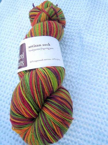 Hazelknits sock in Chuckanut Drive Colorway