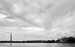 Tidal Basin storm (The Bacher Family) Tags: blackandwhite bw clouds washingtondc washingtonmonument tidalbasin nationalregisterofhistoricplaces theodorerooseveltmemorial thelightisall