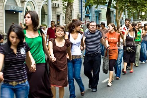 walking human chain by shioshvili, on Flickr