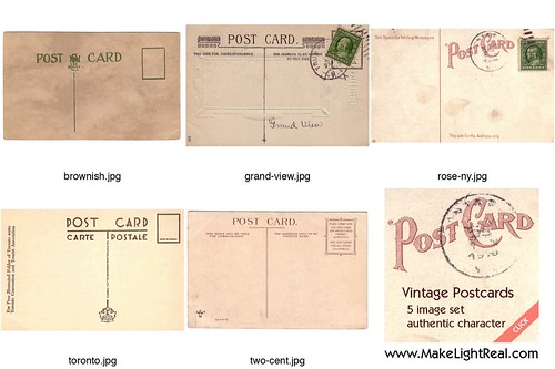 Vintage Postcard Templates - antique textures