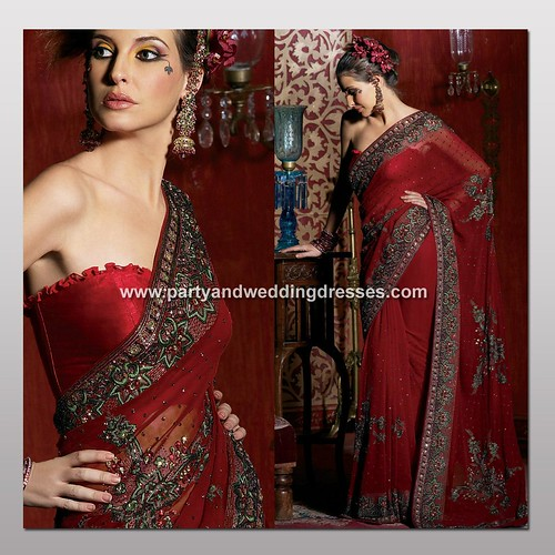 Hot Red Georgette Indian Saree - Indian Wedding Bridal Embroidery