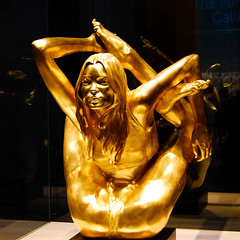 Golden Kate (marin.tomic) Tags: city uk greatbritain travel england urban sculpture london english statue yoga gold nikon europe unitedkingdom exhibit explore gb british britishmuseum katemoss marcquinn topmodel ldn d40