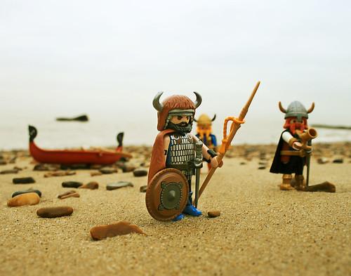 Vikings on the beach at Felixstowe