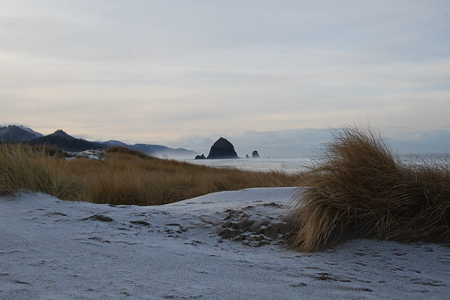 Haystack Rock with hail