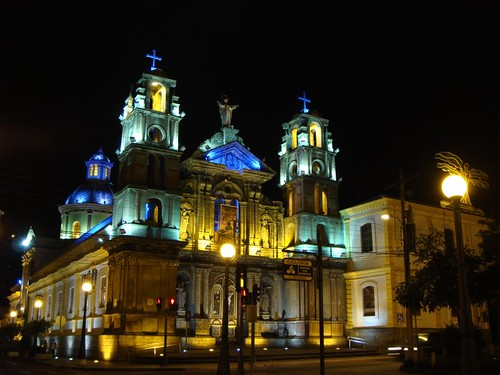 Otavalo church by night. Pretty sight.