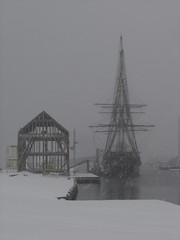 The Friendship and the new old warehouse in the snow (Atelier Sol) Tags: massachusetts salem salemma derbywharf