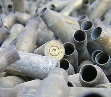 one of many 5.56mm shell casings.