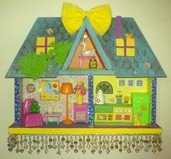 Candy Cottage (Rainbow Mermaid) Tags: pink blue shadow house colour art yellow altered miniature 3d colorful doll dolls bright box furniture folk assemblage cottage vivid craft mini tiny colourful dolly diorama dollhouse rainbowmermaid