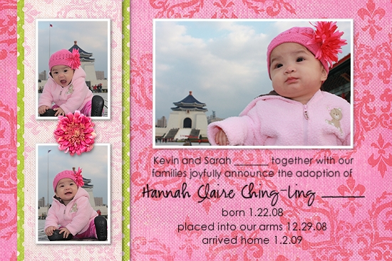 Hannah Claire's adoption announcement