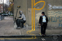 Banksy  graffiti on Pollard street (DawnOne) Tags: uk copyright green london dawn graffiti photo elmo banksy linda bethnal hammond