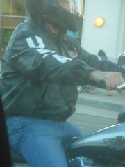 Seen from car. (CAHairyBear) Tags: basket biker levis package bulge