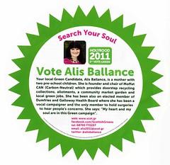 Scottish Greens Scottish Election Leaflet, 2011 (Scottish Political Archive) Tags: party green scotland election scottish publicity campaign 2011 ballance