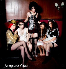 THe Rocky Horror Picture Show (Anonymous Order) Tags: show portrait stockings socks brad tattoo glitter photography glasses couple underwear magenta tights columbia crossdressing redhead portraiture blonde transvestite rockyhorror corset janet stageshow brunette redhair maid therockyhorrorpictureshow frenchmaid franknfurter thatre drfranknfurter goldshorts sparles rifraff