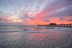 Sunset at Naples Pier II (Erik Holmberg) Tags: ocean blue sunset red colors easter pier florida sunday naples eastersunday naplespier
