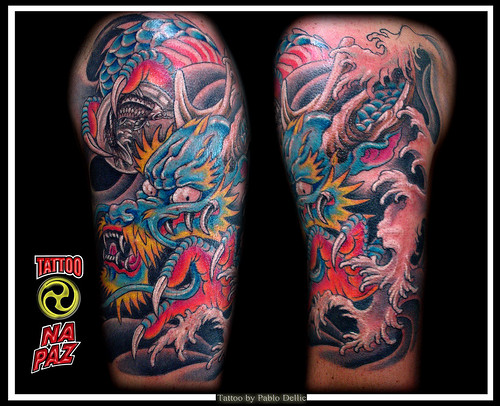 Tatuagem Oriental de Dragão ,Dragon halfsleeve Tattoo by Pablo Dellic