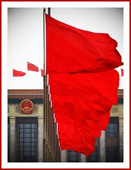 The Red Army (AdreWine) Tags: china red building army beijing parliament flags crest tiananmensquare peking pek