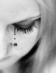 Day 329: Tears are words the heart can't express (Gods Emerald - With Love Photography) Tags: bw eye face photoshop lashes eyelashes cry tear hear coldplaylyrics gtwl heartshapedtears theresamcmanus