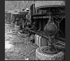 seen better days (karmajaxx) Tags: old white black car truck junk dof artistic sony wheels cybershot dirt junkyard