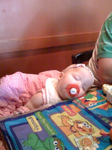Leah asleep at the restaurant