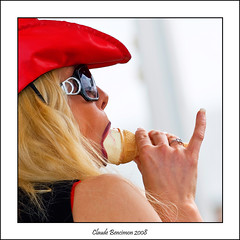 It's cold.......and hot! (Claude Bencimon) Tags: red hot sexy girl glasses finger icecream goldstaraward