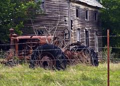 Rural Still Life (hz536n/George Thomas) Tags: summer tractor green oklahoma rust stillwater 2008 cs3 canon30d canonef70200mmf4lusm