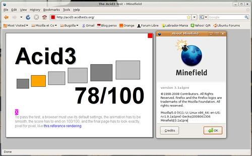 78 / 100 pour Firefox3.1pré-alpha1 et acid3.