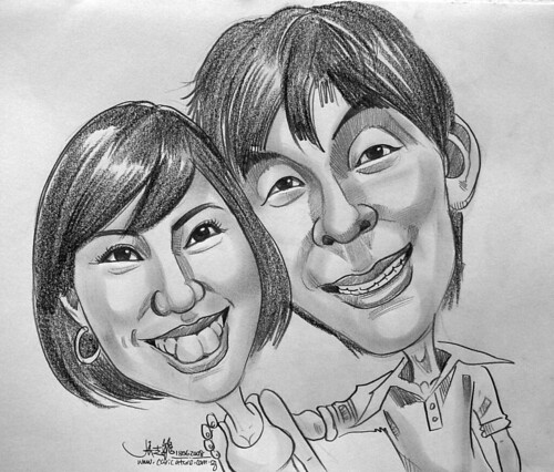 Couple caricatures in pencil 180608