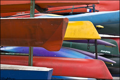 row row row your boat (vcrimson) Tags: nottingham blue red england colour yellow boats kayak holmepierrepont nationalwatersportscentre