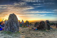 The Stone circle II (maapu) Tags: uk camping sunset party england people stone canon fun farmers tent sacred fields hdr glasto stonecircle sacredspace goldenlight photomatix someset tonemapped maapu mauroof canon40d mauroofkhaleel worthyfield