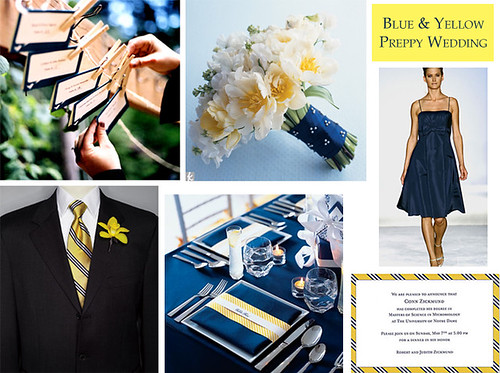Blue and Yellow Preppy Wedding by Tastefully Entertaining.