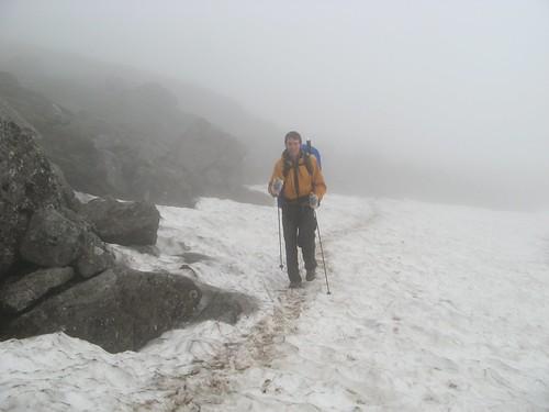 Misty snow crossing