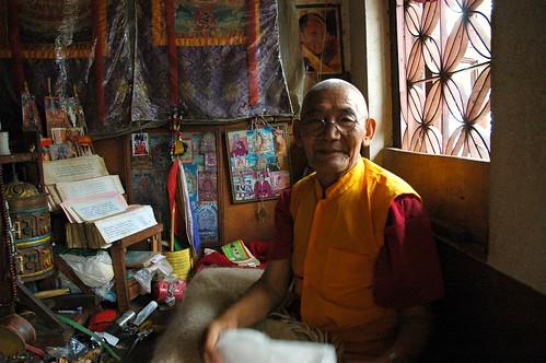 Meditator, monk, Gelugpa Monastery, Parping, hillside, Nepal by Wonderlane