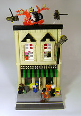 No one looks up anymore (DARKspawn) Tags: city town lego ninja explosion chick motorcycle diorama legotown legocity bignette