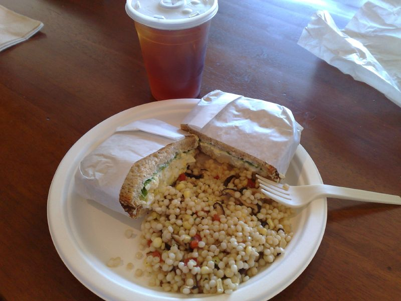 Egg Salad Sandwich w/Cous Cous, sweet corn and mushroom salad