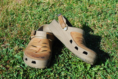worn crocs