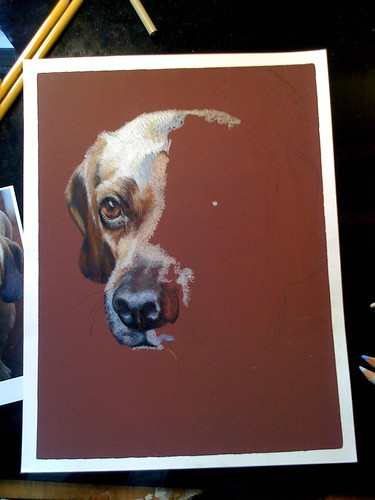 In progress photo of colored pencil drawing entitled Preston G.