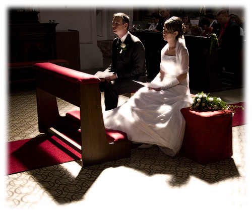 the bridal couple in the church